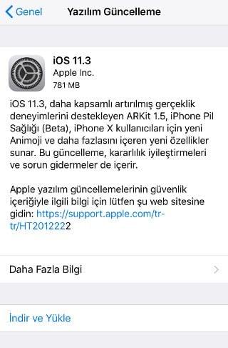 iOS 11.3 Yükleme