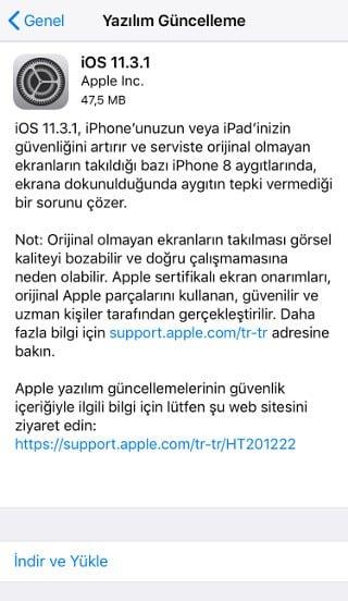 iOS 11.3.1 güncellemesi