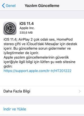 iOS 11.4 Güncelleme
