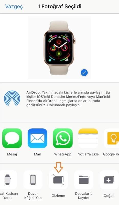 iOS Fotograf Gizleme