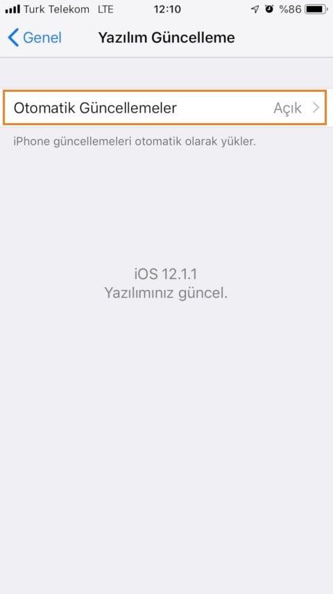 iOS 12 Otomatik Yazılım Güncelleme