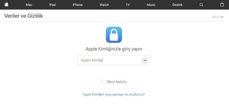 Apple Kimliği Silme