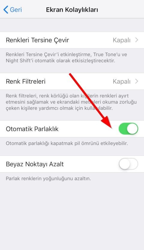 iPhone ve iPad için otomatik parlaklık ayarı nerede?