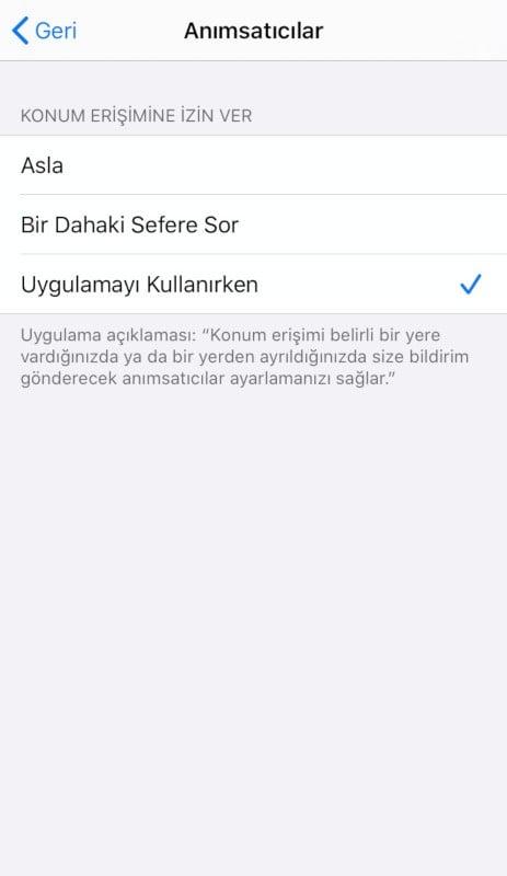 iPhone Konum Servisleri: Yalnızca Uygulamayı Kullanırken!