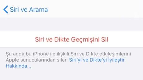Siri ve Dikte Geçmişini Sil