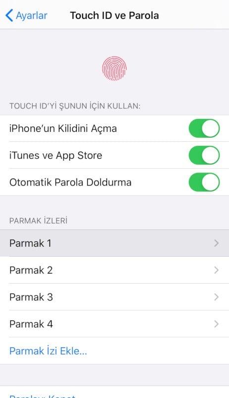 Touch ID ve Parola