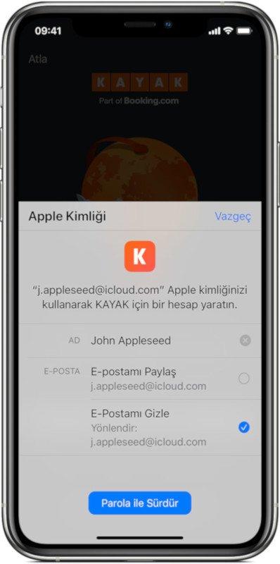 Apple ile Giriş Yap