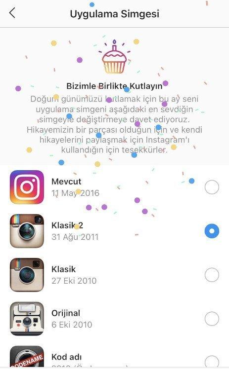Uygulama Simgesi ekranı