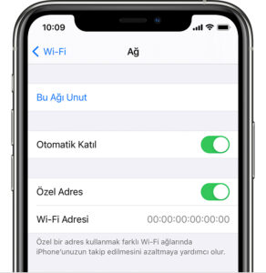 iPhone, iPad veya iPod touch için Wi-Fi Özel Adres