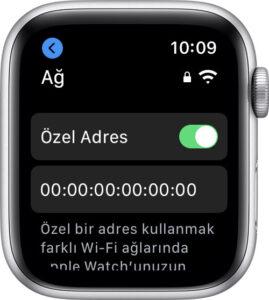 Apple Watch için Wi-Fi Özel Adres